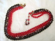 Vintage 4 strand Red AB Crystal Glass Necklace by VintagObsessions, $125.00