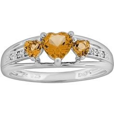 Sterling Silver Citrine and Diamond Accent Heart 3-Stone Ring ($78) ❤ liked on Polyvore featuring jewelry, rings, orange, sterling silver band rings, orange ring, citrine band rings, heart shaped rings and sterling silver heart jewelry