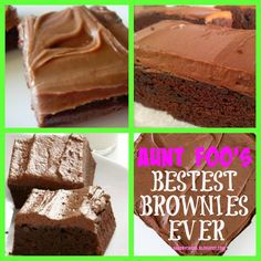 from Suzanne @ ShabbyChicks: Aunt Foo's Bestest Brownies EVER. My Favorite Food, Favorite Recipes, Delicious Desserts, Dessert Recipes, Brownie Pops, Vegetarian Recipes, Cooking Recipes, Best Brownies, Good Food