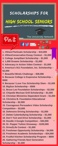 Here is a selection of Scholarships For High School Seniors that are listed on TUN.