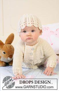 "Sweet Buttercup - Crochet DROPS jacket with raglan and hat with fan pattern in ""Baby Merino"". - Free pattern by DROPS Design"
