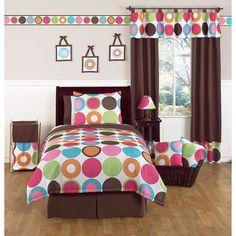 Deco Dot Modern Childrens and Teen Bedding Set 4 Piece Girls Twin Set