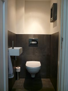 Love the height of the tiles, hand basin, lighting Bathroom Toilets, Laundry In Bathroom, Bathroom Inspo, Bathroom Interior, Bathroom Inspiration, Small Bathroom, Guest Toilet, Small Toilet, Downstairs Toilet