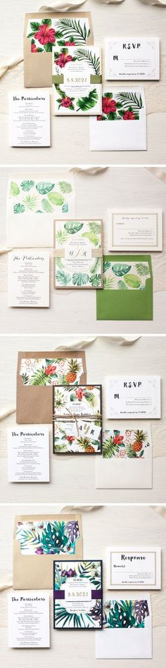 Stylish wedding invitations! Love how colourful and beautiful they are :) Layered with gold, ivory and green, hand written inspired fonts and then paired with a kraft envelope and raffia tie. Complete each invite bundle with a set of hand crafted floral envelope liners and digital calligraphy guest envelope printing. | #ad