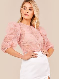 Puff Sleeve Sheer Mesh Blouse Pastel Pattern, Bishop Sleeve, Mesh Fabric, Girly Girl, Types Of Sleeves, Pink Color, Types Of Shirts, Cold Shoulder Dress, Bra