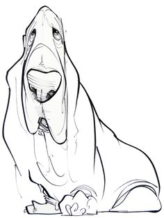 Pet Caricature Portrait – JohnLaFree.com #bassethound #petportrait #johnlafree