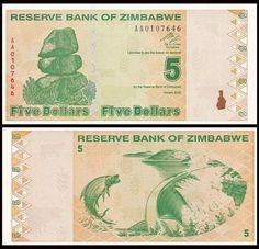 P-97 Lot 5 PCS UNC 2009 Zimbabwe 100 Dollars
