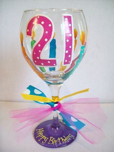 birthday wine glass by flybuttercreations on Etsy 21st Birthday Nails, Birthday Cup, Diy Wine Glasses, Painted Wine Glasses, Nifty Crafts, Cute Crafts, 21st Bday Ideas, Birthday Ideas, Diy Projects To Try