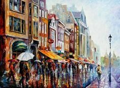 """""""Amsterdam's Rain"""" by Leonid Afremov ___________________________ Click on the image to buy this painting ___________________________ #art #painting #afremov #wallart #walldecor #fineart #beautiful #homedecor #design"""