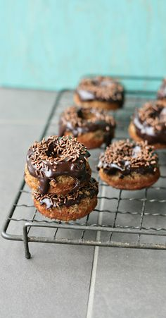 Whole Wheat Baked Banana + Chocolate Doughnuts.  Look sooo good... This one is totally Tanilles fault. haha.
