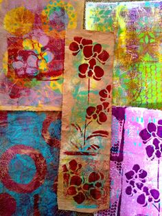 Gelli Art prints on fabric - by Sylwia Gryczuk And I am back with myaddictionof Gelli art Prints. This time I printed on fabric, vintage book pages and newspaper