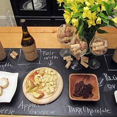 Wine and Cheese Soiree - Love how this set up makes the wine tasting accesible to everyone! You write suggested food and wine pairings on the chalkboard. Maybe adult birthday party idea?!! :)