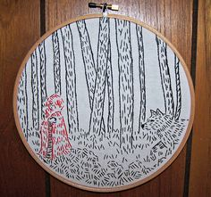 Red Riding Hood Embroidery for Fairy Tale Swap  - Knitting, sewing, crochet, tutorials, children crafts, papercraft, jewlery, needlework, swaps, cooking and so much more on Craftster.org