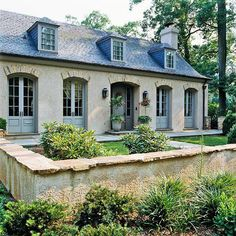 There are few things finer than French architecture. French country exterior design homes are a perfect marriage of traditional values and innovation. Style At Home, French Style Homes, French Cottage, French Country House, Country Living, Country Homes, French House Plans, Cottage Art, Country Cottages