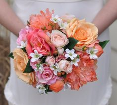 Coral Bouquet Peony Bouquet Wedding Bouquet by Hollysflowershoppe