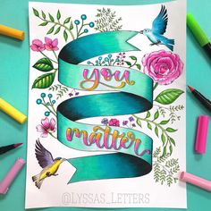 """Alyssa 👩🏻🎨 🇺🇸 on Instagram: """"Done coloring! The YouTube timelapse of me coloring this whole sheet will probably be up tonight (link to my channel in my bio), so stay…"""" Doodle Lettering, Hand Lettering Quotes, Creative Lettering, Lettering Styles, Brush Lettering, Watercolor Calligraphy Quotes, Calligraphy Art, Bullet Journal Lettering Ideas, Bullet Journal Art"""