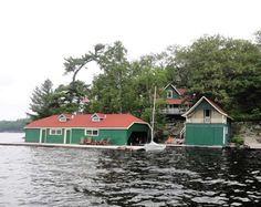 """Unfortunately """"Miss Canada V"""" was not able to complete the poker run due to an engine issue, so in order to fulfill Woody Boater's promise to put the winning hand's boat on its header for the weekend, our intrepid crew headed over to Jeff's Cottage on Keewaydin Island."""
