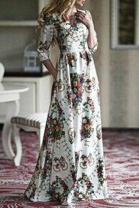 White Floral Print Islamic Muslim Round Neck Fashion Abaya Maxi Dress