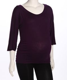 Take a look at this Purple Ruched Boatneck Maternity Top by Jesse Maternity on #zulily today!