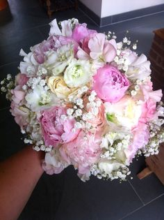 Hand tied bouquet of peonies, gyp, David Austin Keira and Patience roses, delphinium and sweet peas by Bows & Blooms