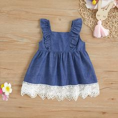 Denim Ruffle-sleeve Lace-up Dress for Baby / Toddler Girl Baby Girl Dress Patterns, Baby Dress Design, Dresses Kids Girl, Kids Outfits, Baby Girl Fashion, Toddler Fashion, Kids Fashion, Chitenge Outfits, Dress Anak