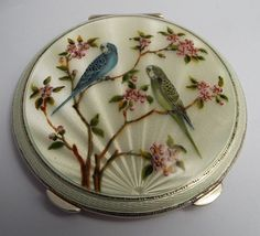 WONDERFUL ENGLISH ANTIQUE 1955 SOLID SILVER & GUILLOCHE ENAMEL POWDER COMPACT Compact, Little Birdie, English, Decorative Plates, Powder, Enamel, Antiques, Tableware, Silver