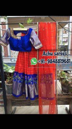Half Saree Lehenga, Lehenga Blouse, Bridal Lehenga Choli, Anarkali Dress, Anarkali Suits, Half Saree Designs, Fancy Blouse Designs, Saree Blouse Patterns, Saree Blouse Designs