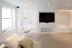 Granit Architects Westover Road, Wandsworth Living space, alcoves, feature lighting, LED strip lighting, tv, fireplace