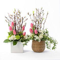 【ネット限定】おうちで桜を楽しむアレンジ チューリップ 白陶器 スクエアタイプ | 無印良品ネットストア