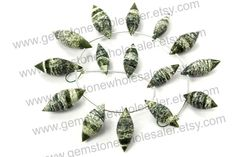 Green Zebra Jasper Faceted Dew Drops Quality by GemstoneWholesaler