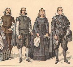 TRAJES Y ARMAS (SIGLO XVII ) DE LA HISTORIA DE ESPAÑA, de 1650 a 1700--nº 5 y 6 .- Hidalgos.- nº 7.- La infanta doña Mariana .- nº 8.- El infante don Carlos.-