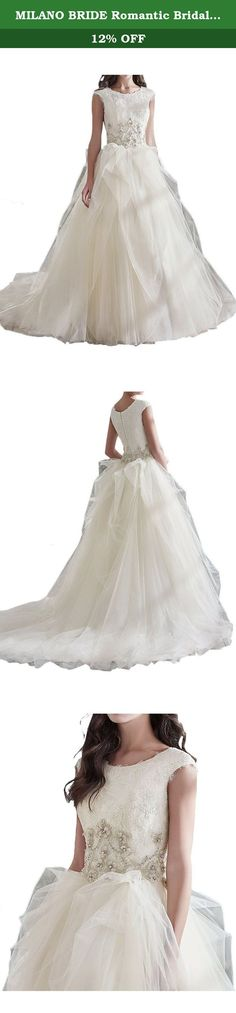 MILANO BRIDE Romantic Bridal Wedding Dress Jewel Ball Gown Tulle Ruffles Beadings-20W-Pure White. Modern style wedding dresses tend to focus on simplicity and comfort.Their style shows that gowns do not have to be overly ornate to be memorable or beautiful and their ease of wear makes them quite attractive.Waist is adorned with beadings and rhinestones.