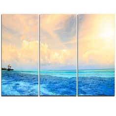 DesignArt Maldives Bungalows Sunset Panorama - 3 Piece Graphic Art on Wrapped Canvas Set