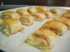 Rollitos de jamón y queso. ¿Quieres una receta con hojaldre? Ideal para un aperitivo cuando tienes invitados...