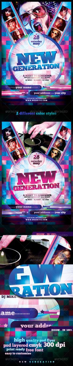 New Generation Flyer Template / $6. *** This flyer is perfect for the promotion of Club Parties, Events, Festivals, Musicals, Concerts or Whatever You Want!. ***
