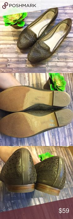 Vince Camuto LaserCutOut Flats 8 Good condition, some wear on the front but other than that great condition! Still have tons of life yet and bottoms in great Condtion. Size 8. Vince Camuto Shoes Flats & Loafers