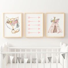 Featuring soft hints of watercolour pinks, this tribal boho woodland nursery or bedroom wall art print set includes a floral teepee print, pink arrows and a fox