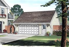 Cape Cod Saltbox Traditional Garage Plan 30020