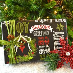 10 Feet Christmas Wrapping Paper Chalkboard by WrapAndRevel