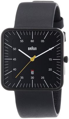 Braun Men's Watch with Square Dial and Leather Strap