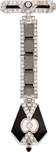 Swiss Art Deco Platinum, Diamond & Onyx Pendant Watch, circa 1920. Case: plain platinum front, back set with diamonds and onyx, 26 x 23 mm, onyx crown, measures 3 1/2 inches top to bottom with the diamond, platinum and onyx set mesh fob and pin, the pin measures 34 mm, approximately 2.25 cttw.  Dial: silver, Arabic numerals, pointed blue steel batons. Movement: 15 jewels, nickel finish, damaskeened, straight line lever.