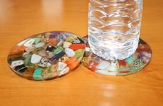 tumbled stones in clear coasters.  great gift to make with kids..