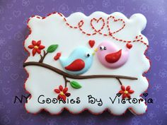 by NYCookiesByVictoria, adorable birdie valentine cookies on branch.