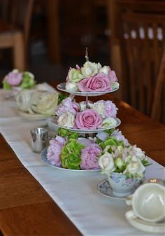 Loved the flowers arranged on 3-tier serving platters