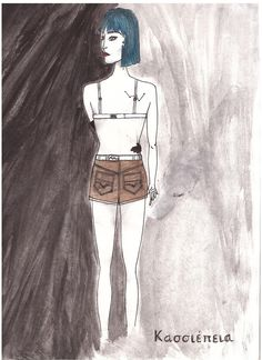 #illustration #draw #drawing #marker #watercolor #watercolour #gouache #girl #blue #hair #indie #casiopea #tattoo