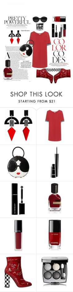 """""""Red Lips N Tips"""" by roobunn ❤ liked on Polyvore featuring Toolally, Splendid, Alice + Olivia, MAC Cosmetics, Givenchy, Orto Parisi, Chanel, Dolce&Gabbana and Carla Zampatti"""