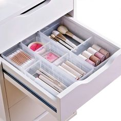 W Desk Drawer Organizer Tray with Adjustable Dividers, Multi-Drawers for Makeups, Utensil, Pens, Flatware and Junks – Set of 4 Large + 2 Small) Inch Length - DIY Desk Ideen