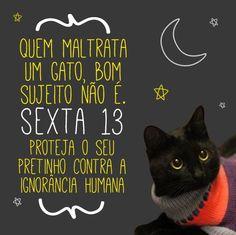 Todo cuidado com o seu gato preto ou com doação, pois sexta 13 é um dia muito perigoso, devido a ignorância humana. =(
