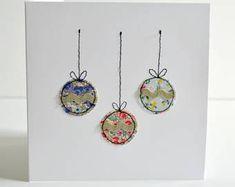 Embroidered Christmas card, Christmas bauble card, Christmas card, sewn Christmas card, stitched Christmas card, christmas tree baubles