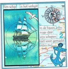 Willy Kamphuis zelfgemaakte kaarten: Een schip is het veiligst in de haven...